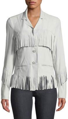 Jakett Fringed Washed-Suede Jacket