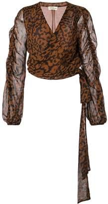 Nicholas leopard print wrap blouse