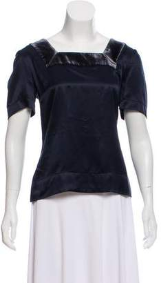See by Chloe Velour-Accented Silk Top