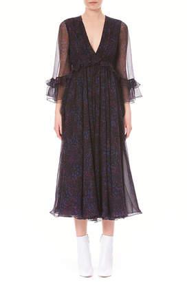 Carolina Herrera V-Neck Ruffled Long-Sleeve Silk Chiffon Midi Dress