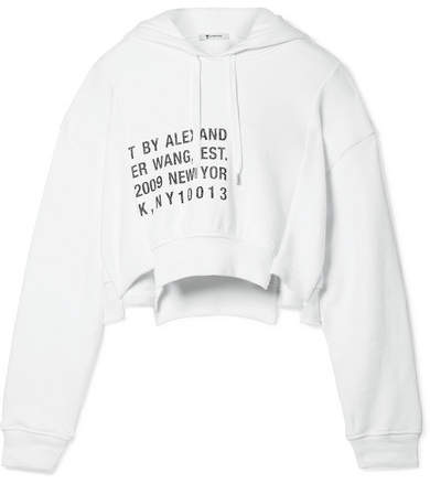 T by Alexander Wang - Fleece-paneled Printed Cotton-jersey Hooded Top - White