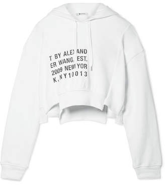 Alexander Wang Fleece-paneled Printed Cotton-jersey Hooded Top - White