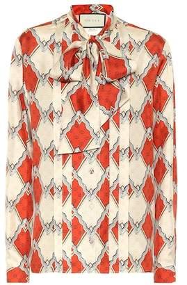 Gucci Snake Rhombus silk twill shirt