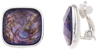 Dana Buchman Purple Abalone Stud Clip-On Earrings