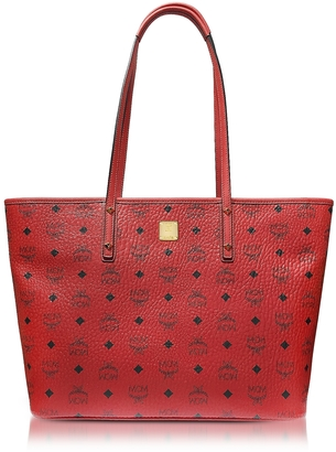 MCM Anya Ruby Red Top Zip Medium Shopping Bag $628 thestylecure.com