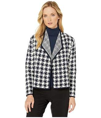 Jones New York Drape Front Houndstooth Cardigan