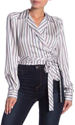 Dress Forum Striped Long Sleeve Wrap Top