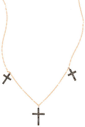 Lana Reckless Vol. 2 Triple Cross Black Diamond Necklace in 14K Rose Gold