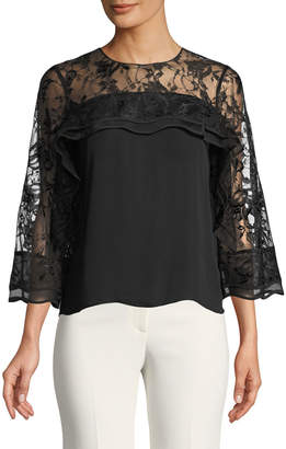 Sachin + Babi 3/4-Sleeve Blouse w/ Lace Detail