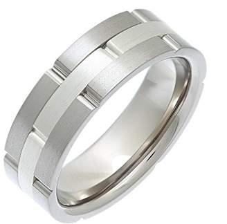 Theia Titanium and Silver Inlay Flat Court Matt Brick 7mm Ring - Size W