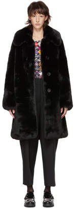 Marc Jacobs Black Faux-Fur Plush Coat