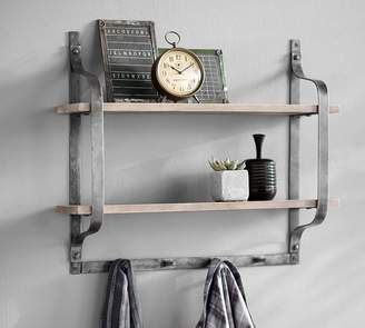 Pottery Barn Rustic Pine Shelf with Hooks
