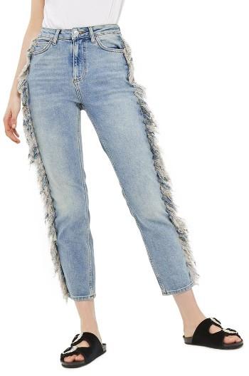 TopshopWomen's Topshop Moto Fringe Straight Leg Jeans