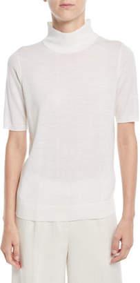 Eileen Fisher Mock-Neck Elbow-Sleeve Merino Wool Sweater, Plus Size