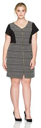 Ellen Tracy Women's Plus Size Striped Tweed Black and White Dress