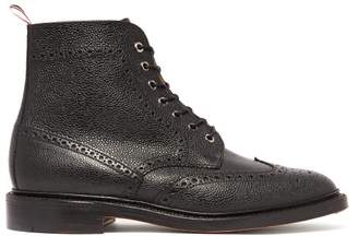 Thom Browne Wingtip Pebbled Leather Brogue Boots - Mens - Black