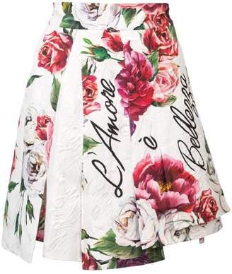 Dolce & Gabbana peony-print brocade skirt