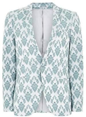 Topman Mens Green Mint Jacquard Ultra Skinny Suit Jacket