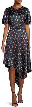 Milly Cynthia Floral-Print Silk-Stretch Dress
