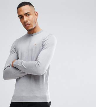 Farah TALL Mullen Slim Fit Merino Sweater in Light Gray