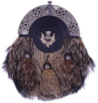 Celtic Highland Empire Men's Scottish Kilt Sporran Coyote Fur Thistle Cantle /Kilt Sporrans