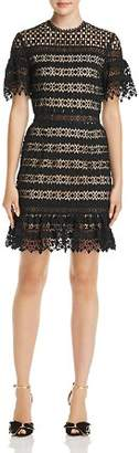 Aqua Geometric Lace Illusion Dress - 100% Exclusive