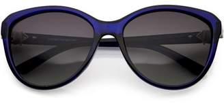 Cat Eye Sunglass.La Women's Rhinestone Accented Sunglasses Polarized Lens 58mm (Blue / Lavender)
