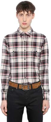 Saint Laurent Plaid Cotton Flannel Western Shirt