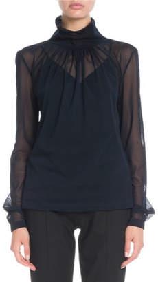 Victoria Beckham Gathered-Neck Long-Sleeve Sheer Top