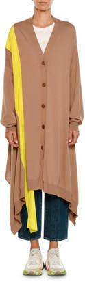 Stella McCartney V-Neck Button-Front Wool Cardigan w/ Contrast Stripe