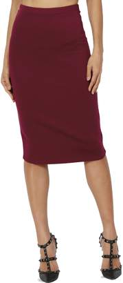 Hunter TheMogan Women's Basic Stretch Thick Ponte Knit Pencil Midi Skirt 2XL