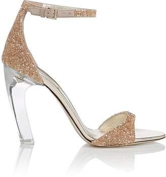 Valentino Women's Acrylic-Glass-Heel Suede Sandals