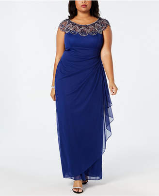 fa55e5265e1a3 Xscape Evenings Plus Size Illusion Beaded Gown