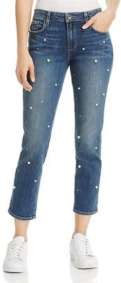 PAIGE Brigitte Slim Boyfriend Crop Jeans in Allover Pearl $349 thestylecure.com