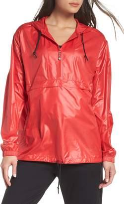 Zella Jacky Packable Half Zip Hooded Rain Jacket
