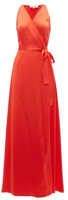 Diane von Furstenberg Wrap Front Charmeuse Maxi Dress - Womens - Orange