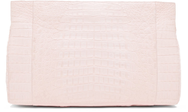 Nancy Gonzalez Crocodile Clutch in Pink