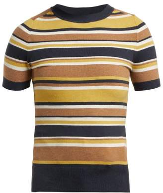 JoosTricot Striped Short Sleeved Cotton Blend Sweater - Womens - Brown Multi