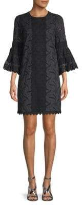 Andrew Gn Lace Bell-Sleeve Shift Dress