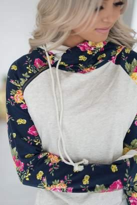 Ampersand Avenue DoubleHood Sweatshirt - Navy Floral Accent