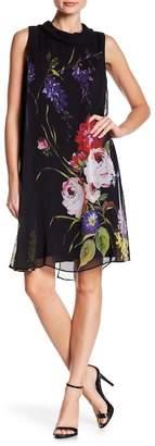 SL Fashions Pritned Chiffon Cowl Neck Dress