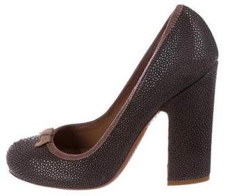 Alaia Embossed Leather Pumps