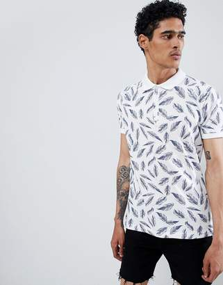 Brave Soul Feather Print Polo Shirt