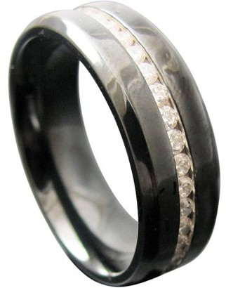 ONLINE CZ Black Stainless Steel All-Around Ring