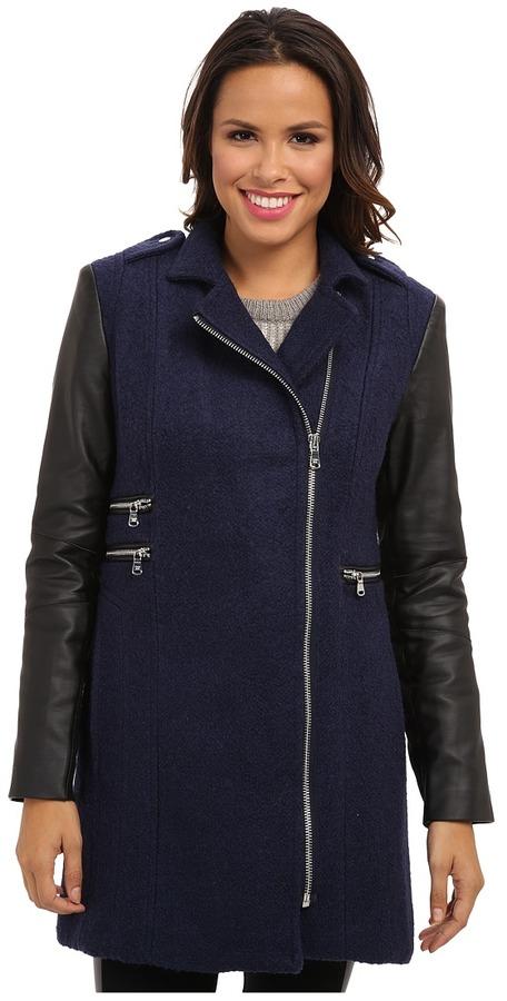 Calvin KleinCalvin Klein Asymmetrical Zip Boucle Coat w/ Faux Leather Sleeves CW351052