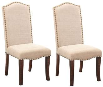 Pilaster Designs Rowena Cream White Contemporary Nailhead-Trim Upholstered Formal Dinette Dining Room Side Chairs (Set Of Two)