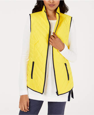 Charter Club Contrast-Trim Zip-Front Vest