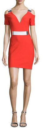 Thierry Mugler Cold-Shoulder Mini Sheath Dress, Red/White $1,980 thestylecure.com