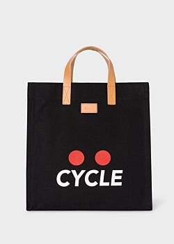 Paul Smith 'Cycle' Print Black Canvas Tote Bag