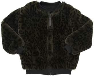 Molo Leopard Printed Faux Fur Bomber Jacket